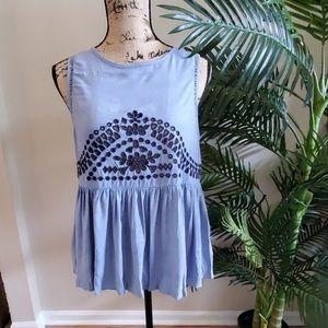Xhilaration peplum blue cutout sleeveless blouse